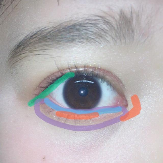 リキッドアイライナーで黒目から目尻にかけタレ目にラインを描きます。 涙袋にベースとしてオレンジを広めに塗り、目の際にポンポンと丁寧に赤を塗ります。そして黒目の下と目頭にラメを塗りなじませます