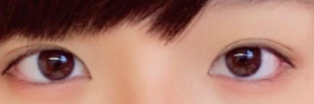 目の完成形です。あえてマスカラを使わずに派手にならないようにしました!