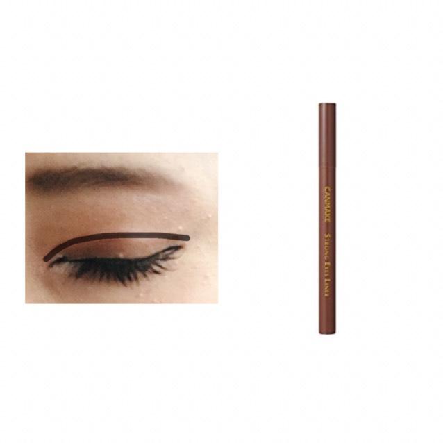 【ダブルライン】 2重線をなぞり目頭と目尻は目の形に沿って伸ばす