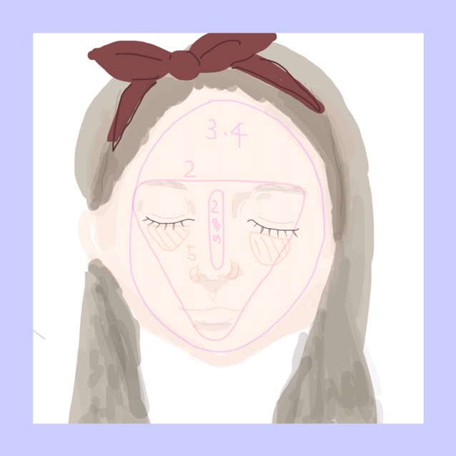 3、4のすっぴんクリームとヌードメイクジェルを薄く顔全体に塗る ♡かなり薄く がポイント  眉の端、顎を結ぶ三角の中にセザンヌのテカリ防止下地を塗る 特に鼻筋あたりはしっかり  最後にクマなどはコンシーラーで隠す