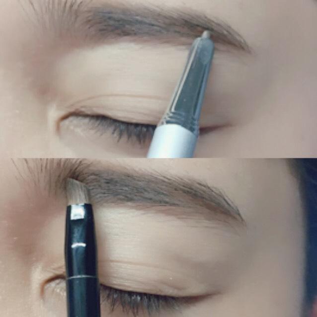 ダイソーのペンシルで眉尻、毛流れを書き眉頭をパウダーで書きます。 そしてセリアの眉マスカラで色味を整えます