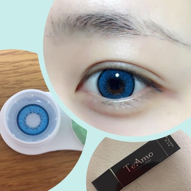まずカラコンを入れます! 今回はTeAmoの青です!