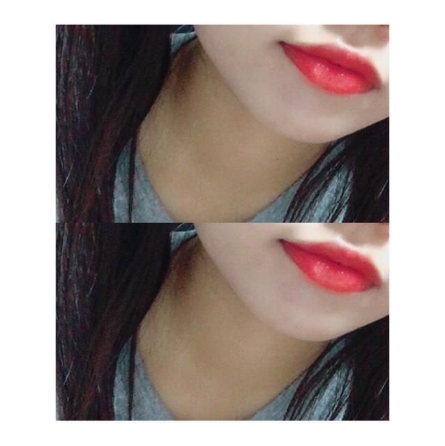 口紅はぶどう色のリップを塗る。 塗る前にメンソレータムの薬用リップで保湿を忘れずに!!!