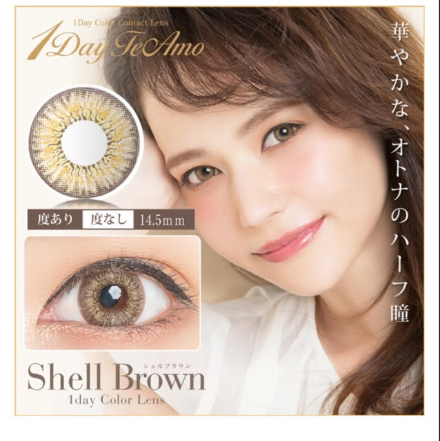 TeAmo shellbrown 【DIA】14.5mm 【BC】8.8 【度数】±0.00、-0.50~-10.00