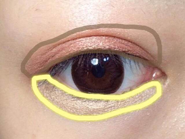 アイホール全体に白いハイライトをのせます。 その後に茶色の線にオレンジ系と明るいブラウンをのせます。 黄色い線には黄色いアイシャドウをのせます。