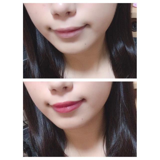 リップは深みのある赤を少しだけ塗り、唇全体に伸ばします。