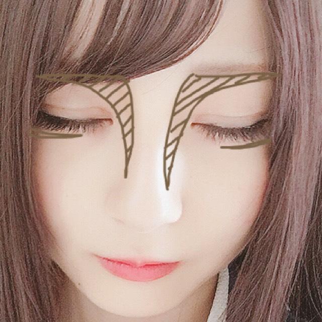 シェーディングを  眉の下、鼻筋の横に塗ります。  ケイトのアイブロウパウダーで涙袋の影を少し濃く書き指でボカシます。