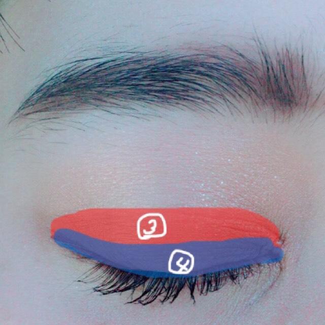 二重幅に③を塗ります目の際広めに④を塗ります