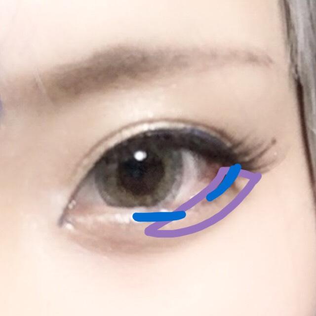 紫に、さきほどのKATEの右上の色で3分の2くらいまでぬります  青はアイブロウペンシルでちょちょっと