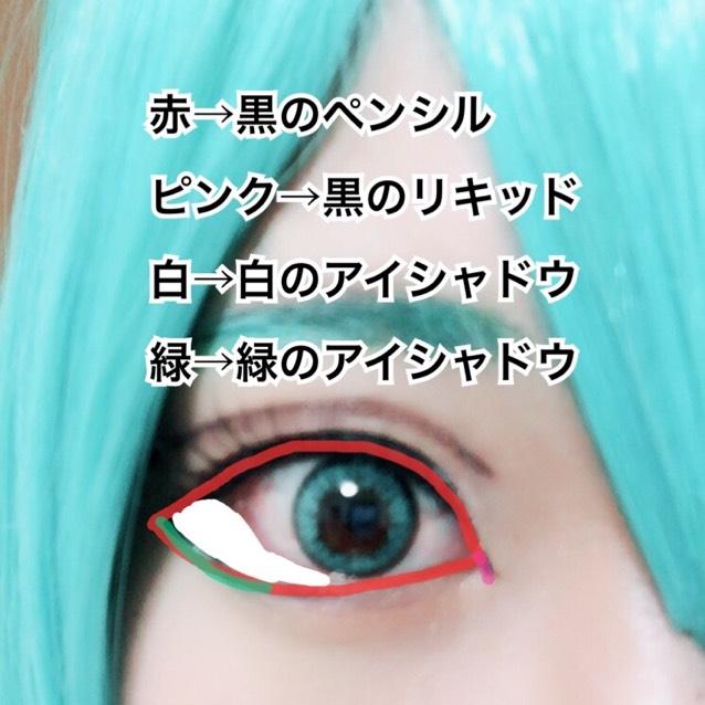 赤→黒のペンシル ピンク→黒のリキッド 白→白のアイシャドウ 緑→緑のアイシャドウ
