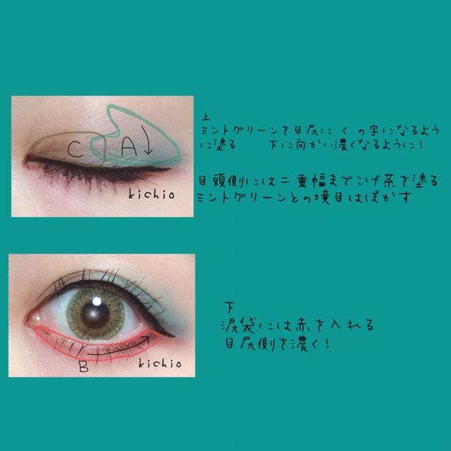秋っぽい感じのモードメイクなので、かわいい系よりは切れ目意識で行きます  まず、上瞼の目尻にAのミントグリーンを  く の字に入れる Aはまつげに向かい濃く!  Cのブラウンを目頭側の二重幅まで塗る AとCの真ん中はぼかす  下瞼 涙袋にBの赤を塗る 目尻に向かい濃くする