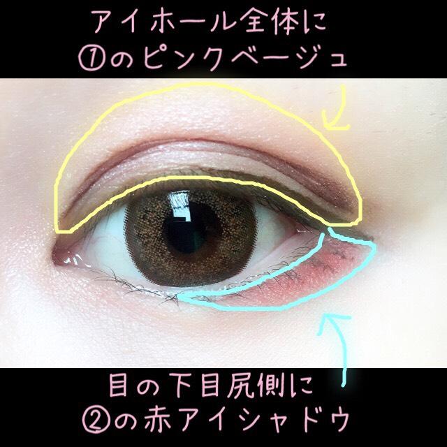 アイホール全体に①  目の下の目尻側に②←タレ目に見えるようにのせます。