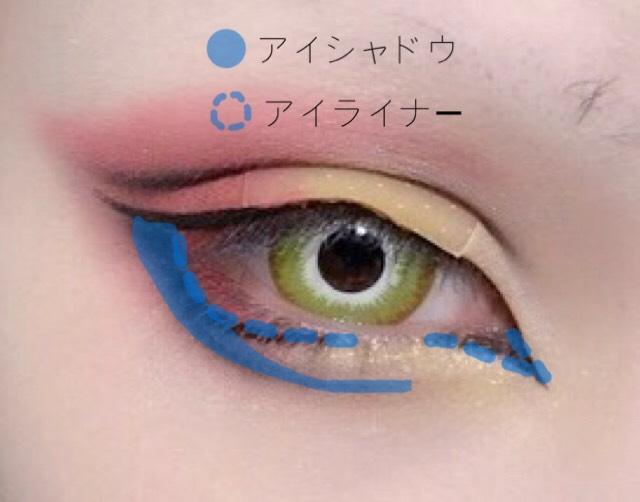 目尻側のラインの真下から黒いアイシャドウでラインを引きながら涙袋のように途中から少し間隔を開けて引いていきます。 目頭側に持っていきすぎるとバランスが悪くなるので注意。