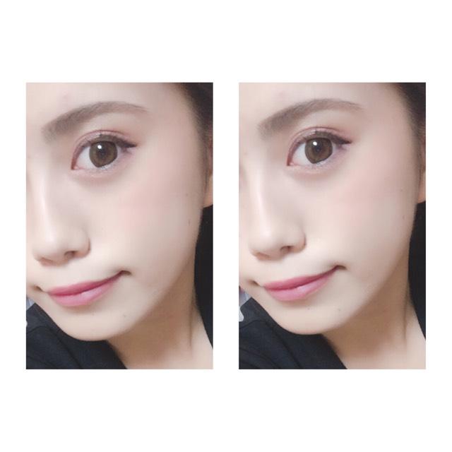 アイシャドーにも使ったくすみピンクのクリームチークを頬骨の高いところに斜めに塗り、同じくくすみピンクのパウダーチークをふんわりと上に重ねます。