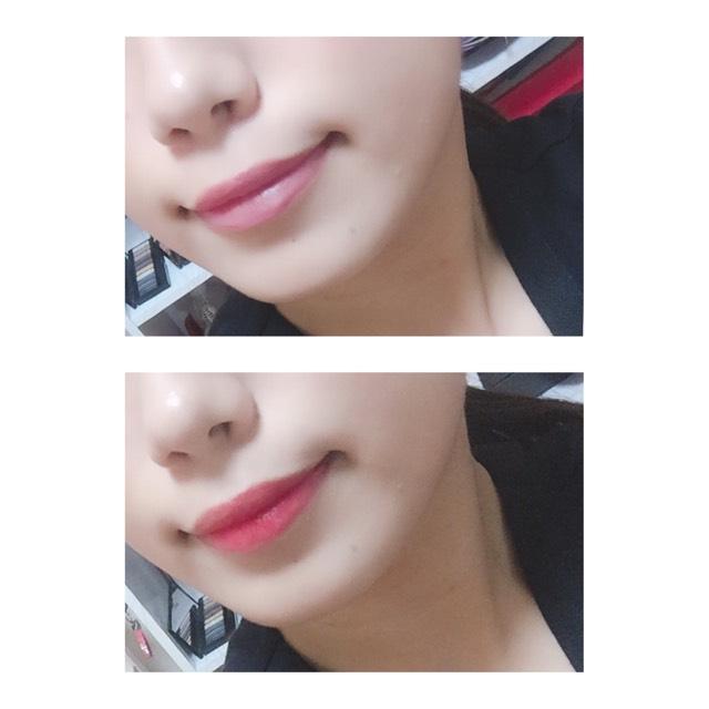 唇の中央からジュワッと発色するように、さりげなくグラデーションになるようにリップを塗ります。
