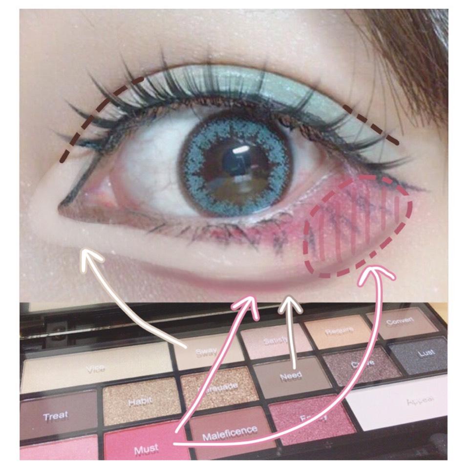 画像のように塗ります。  涙袋の影に目尻と同じ色を入れることで馴染ませます◎  ダブルラインは目頭切開と同じラブライナー。