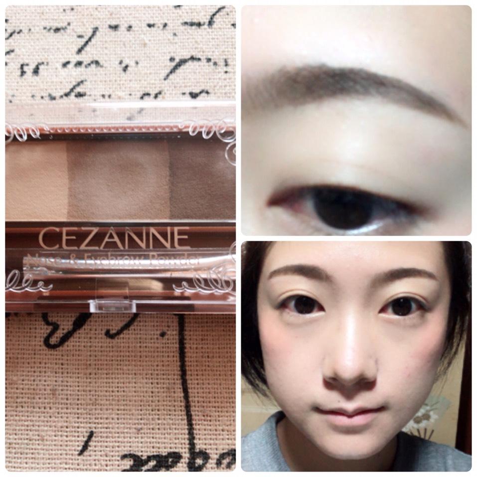 セザンヌのアイブローで眉毛を書き、1番薄い色でノーズシャドウを入れます。