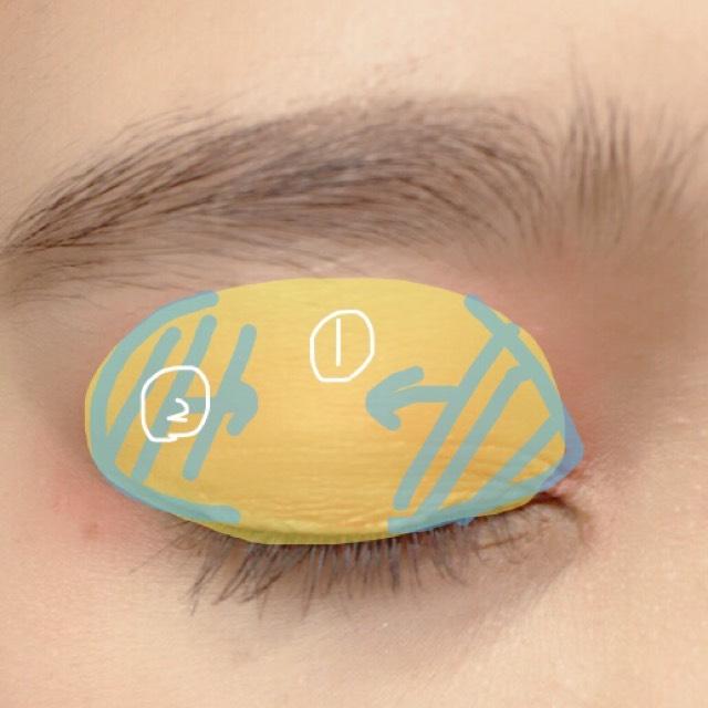アイホール全体に①を濃いめに塗り目頭、目尻から中央に向けて②をグラデーションに!