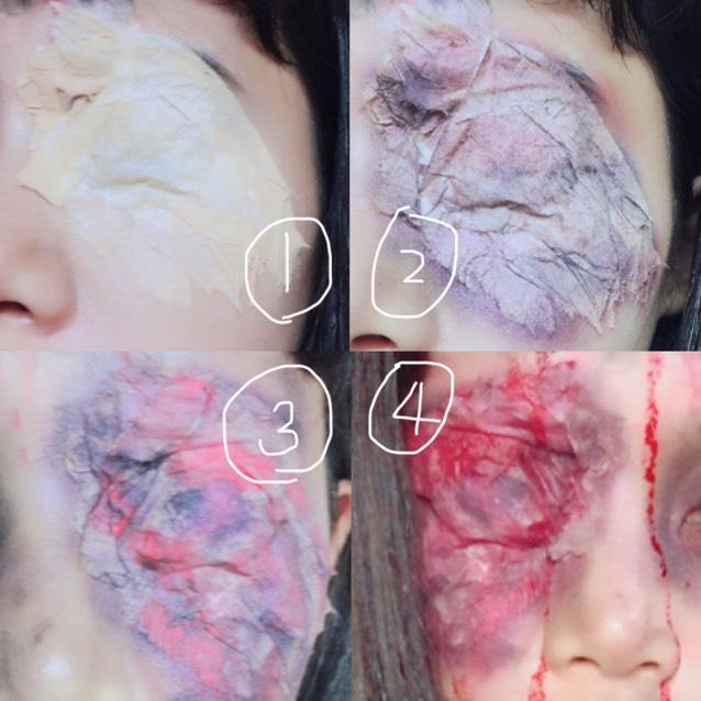 【目】 ①つけまのりを肌に塗り1枚にしてちぎったティッシュをはる。そしてマジョマジョのヌードメークジェルを上から塗る ②紫、黒、赤のシャドウを塗っていくを適当にムラになるように! ③より重ねて赤のティントをブラシで所々に塗りその上から②の工程を繰り返す。 ④血糊を垂らす