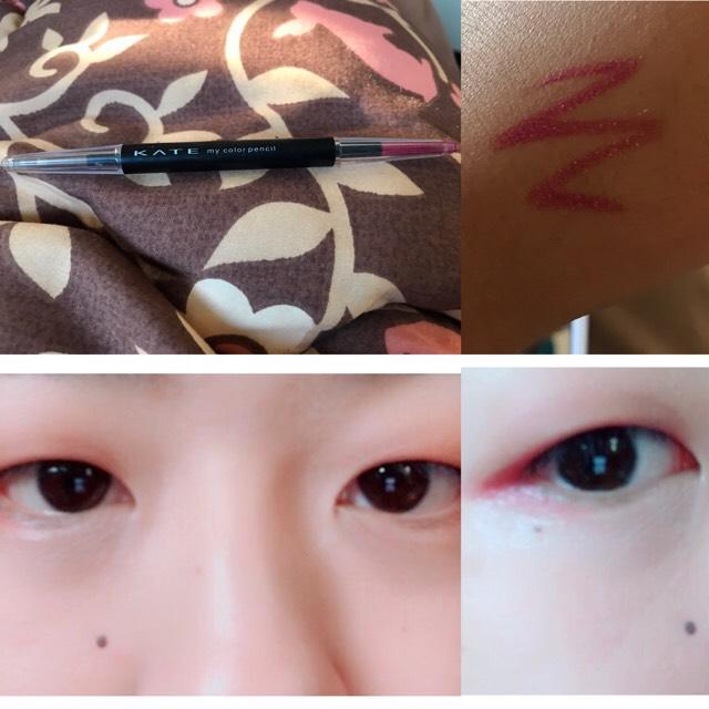 ❺KATEのMyカラーペンシルを使います。 左は使いませんが ゴールドカラーでペンシルは別売りになります! *使うのは右のピンクのような紫?ラメが入っていてかなり描きやすく発色がいいのでオススメです!( ;∀;)  韓国メイクでも目尻の部分をくの字にしてラインを描くと目元の印象を大きくしてくれます。目尻の横を引っ張ってラインを引くのがオススメです!