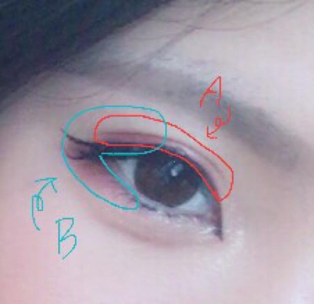 14番の色をこのように載せます。 イメージは赤で目を囲むように。