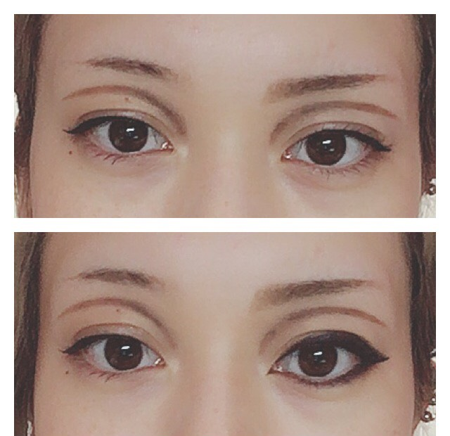 右側だけ眉毛  右側だけ追加アイライン