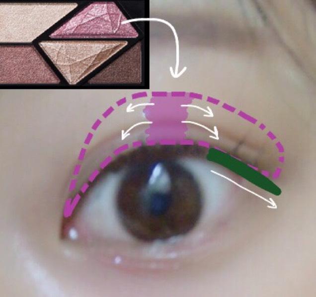 ピンクのキラキラのアイシャドウを、真ん中にドバっと付けて、そっから両サイドへぼかします。  アイラインは目に沿ってそのまま垂らす。 その上から濃いブラウンを重ねてブラックラインの主張を抑える。