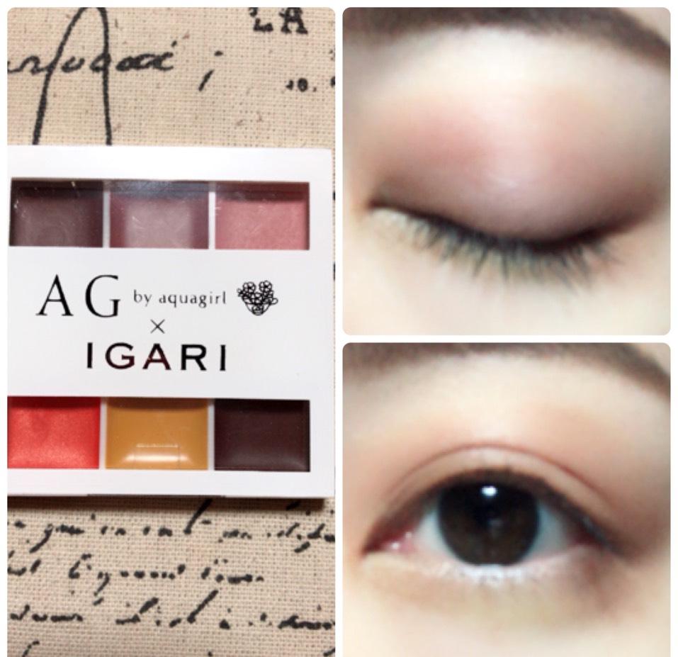 アイホール全体と目の下にパレットの下段真ん中のマスタードイエローを塗り、上まぶたと目の下目尻側に下段右のブラウンを重ねて塗ります。