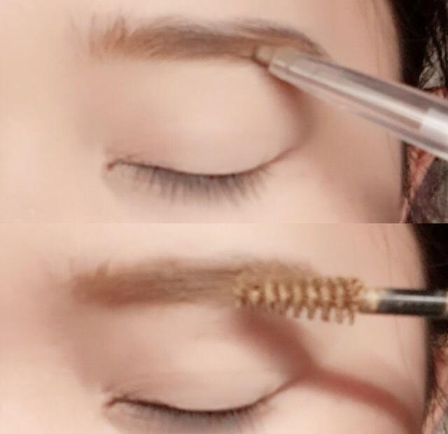 キャンメイクで眉毛を細めに書きアニマルアイブローマスカラを塗ります