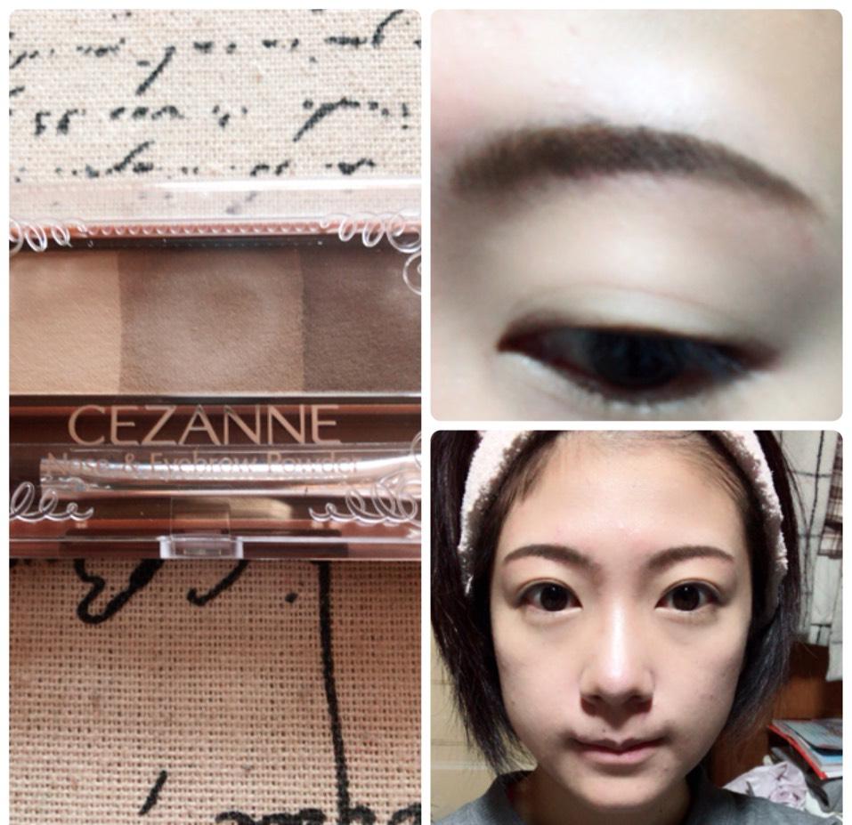 セザンヌのアイブローで眉毛を眉尻を濃く、眉頭を薄くなるように書き、いちばん薄い色でノーズシャドウも入れます。