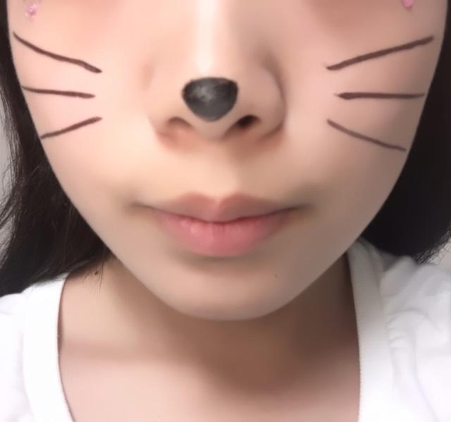 鼻とヒゲを描きます。 鼻は逆三角形の形にするといいですよ!