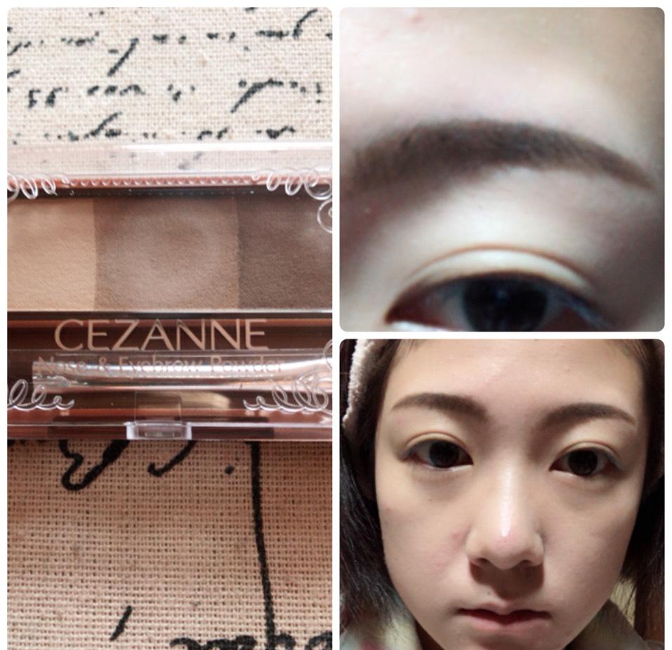 眉毛を眉尻を濃く、眉頭を薄くなるように書き、いちばん薄い色でノーズシャドウも入れます。