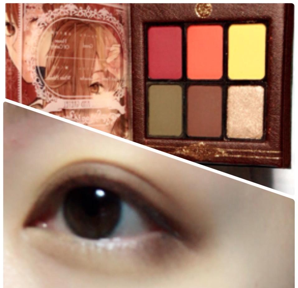 アイホール全体と目の下にイエローを塗り、上まぶたと目の下目尻側にブラウンを塗ります。