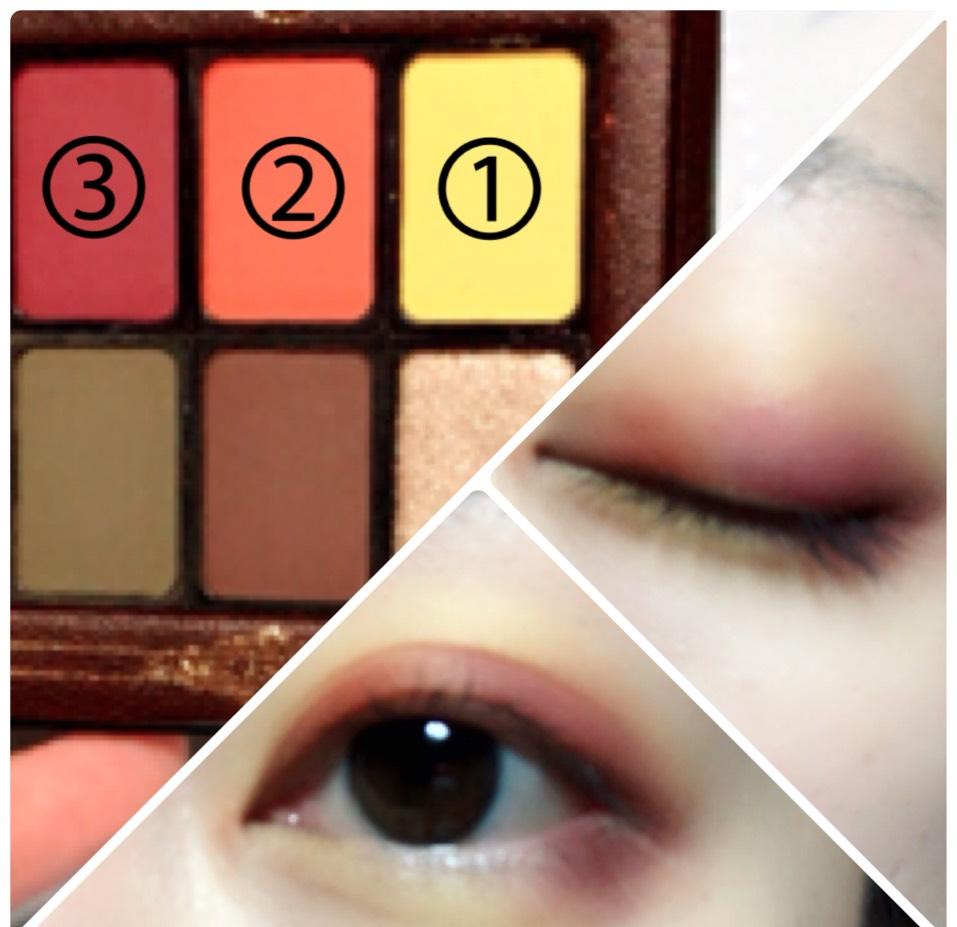 ①をアイホール全体と目の下に塗り、上まぶた目頭側に②を、上まぶた目尻側と目の下目尻側に③を塗ります。