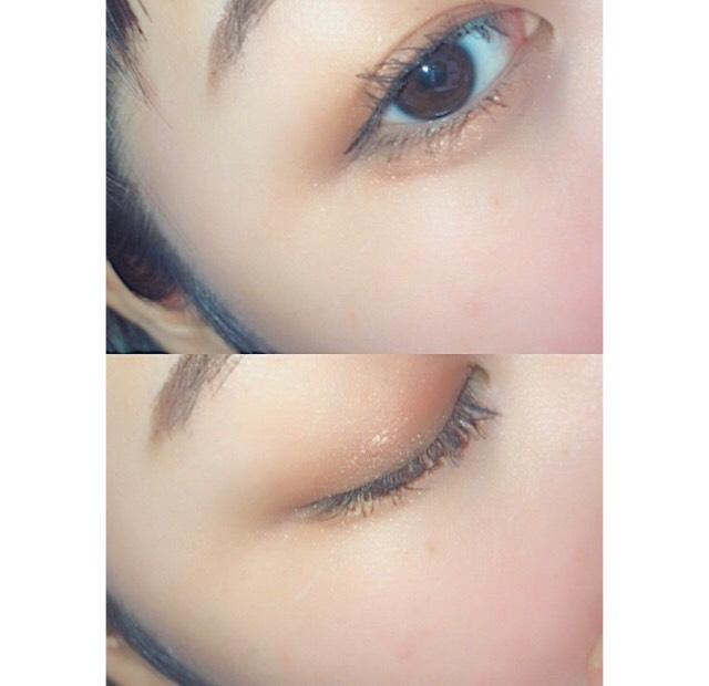 目のキワに濃いブラウンを入れ、目尻だけにアイラインを引きます  アイラインは目の形に沿って少しさがりめに!