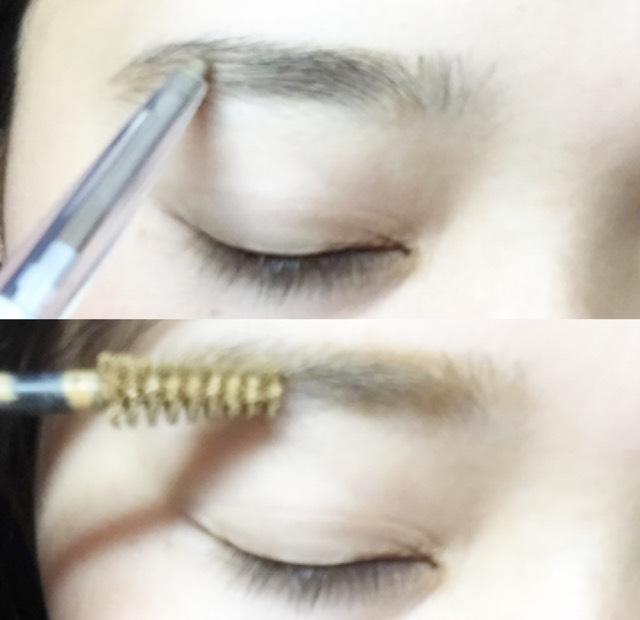 ペンシルで眉毛を細めに書きマスカラをします