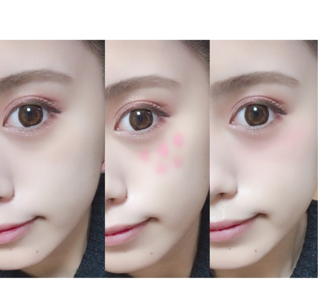 頬にクリームチークを目の下に広めにのせ、指で叩き込むように広げる。目のすぐ下の部分に重ね塗りをする。  point!  チークを鼻先に塗ることでうさぎのようなふわっとした印象に♪