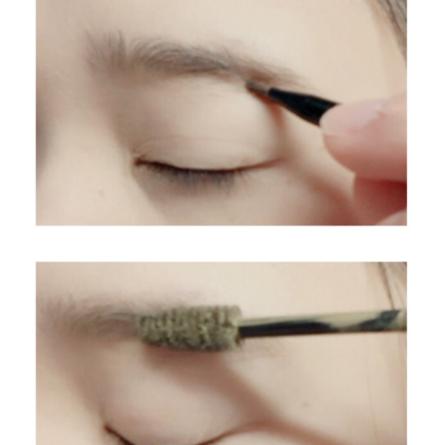 KATEのデザイニングアイブローで眉毛を書きマスカラで色味を変えます