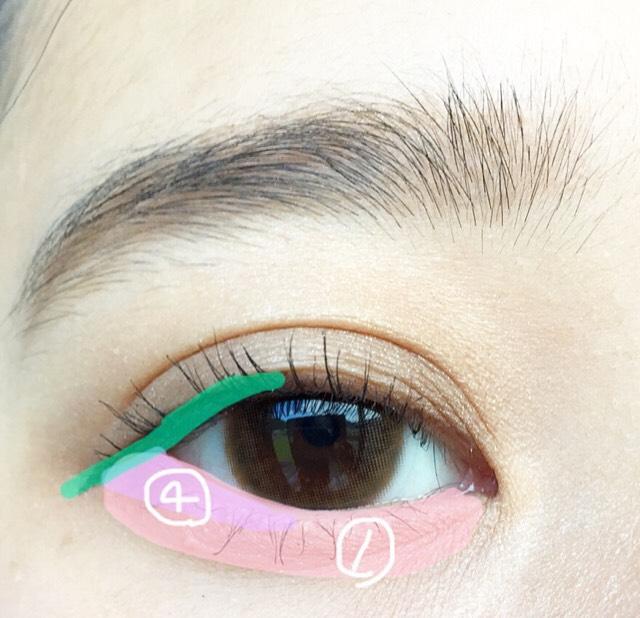 涙袋全体に①を塗り目尻、三角を意識して④を塗ります。 ブラウンのリキッドで黒目から目尻にかけて補足アイラインを引きます