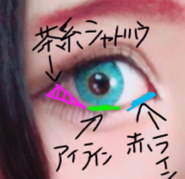 パレットの使い方通りにアイシャドウをのせて、目頭側に中央のシャドウを載せる。 下まぶたは三角ゾーンに茶系のシャドウ入れます☺︎ アイラインは横長意識。二重幅は広めに作ろう(◦ˉ ˘ ˉ◦) 涙袋はほんとにほんとにほんとにがっつり書いて書いて書いて。 プックリとか通り越してナメクジぐらい!