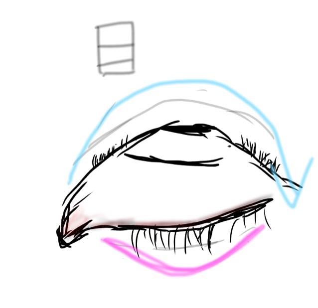 其ノ壱 アイシャドウの塗り方で丸目をつくるべし。  絵にするとこんな感じ笑 目を半開きにした状態で丸を描くことを意識してアイシャドウを塗る。 涙袋も同じように丸を意識して書く。