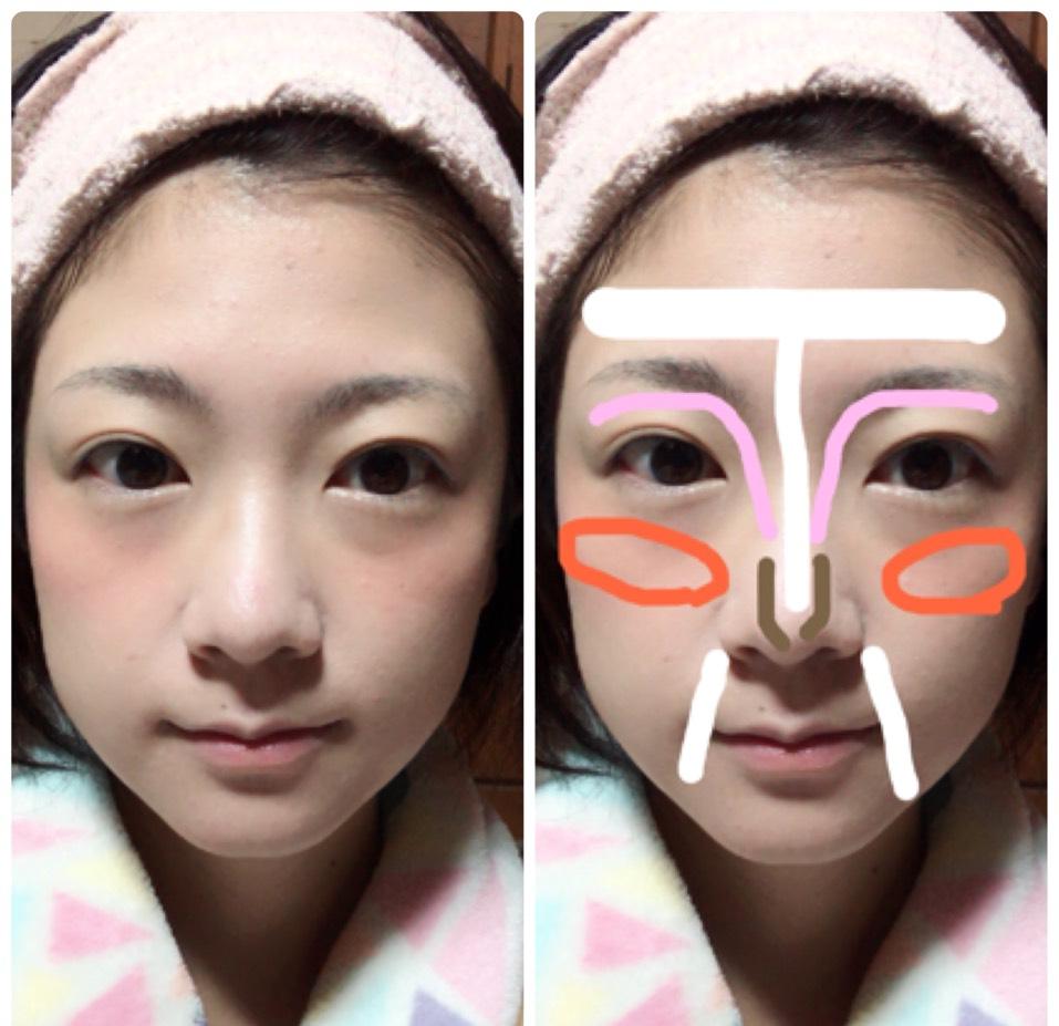 画像右側のように 白→ハイライトカラー ピンク→コントゥアペンシル ブラウン→ノーズシャドウ オレンジ→クリームチーク を塗ります。 その上からマシュマロフィニッシュパウダーをブラシで塗ります。