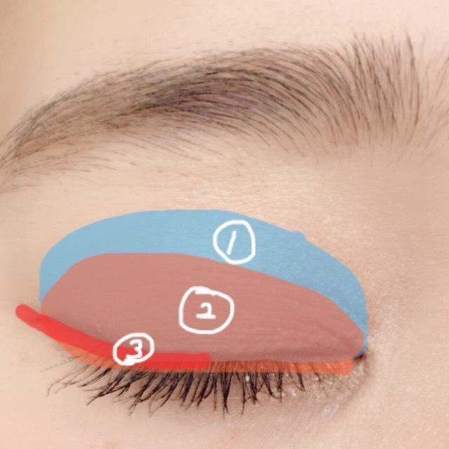 アイホール全体に①を塗り二重幅に②を塗ります。目の際、黒目から目尻にかけて③を塗ります