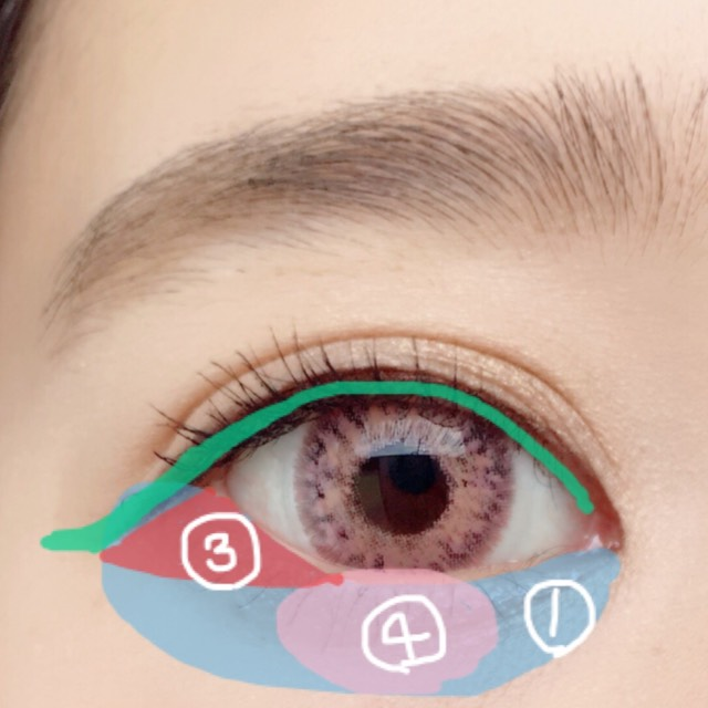 涙袋全体に①を塗り、黒目の下に④を塗ります。目尻に三角を意識して③を塗ります。 そして粘膜をペンシルでうめリキッドアイライナーで3ミリくらい長く書きます