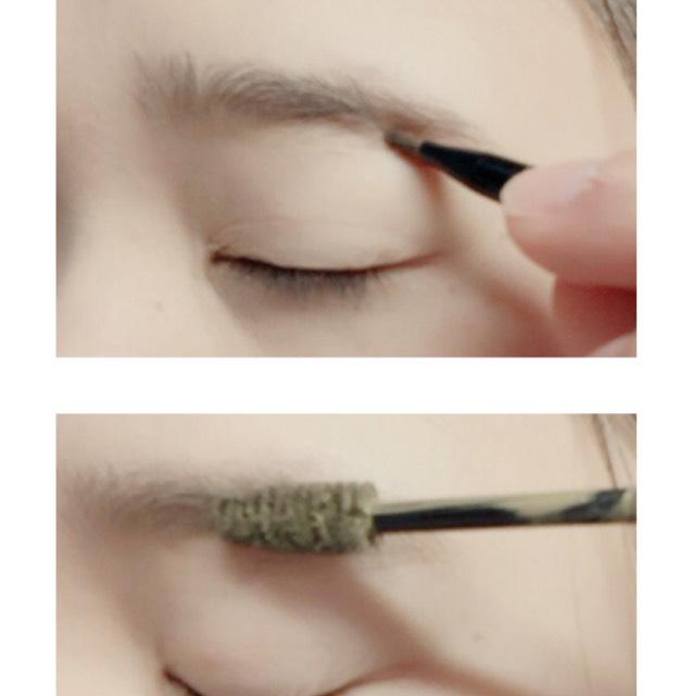 パウダーで眉毛を書きマスカラで色味を変えます