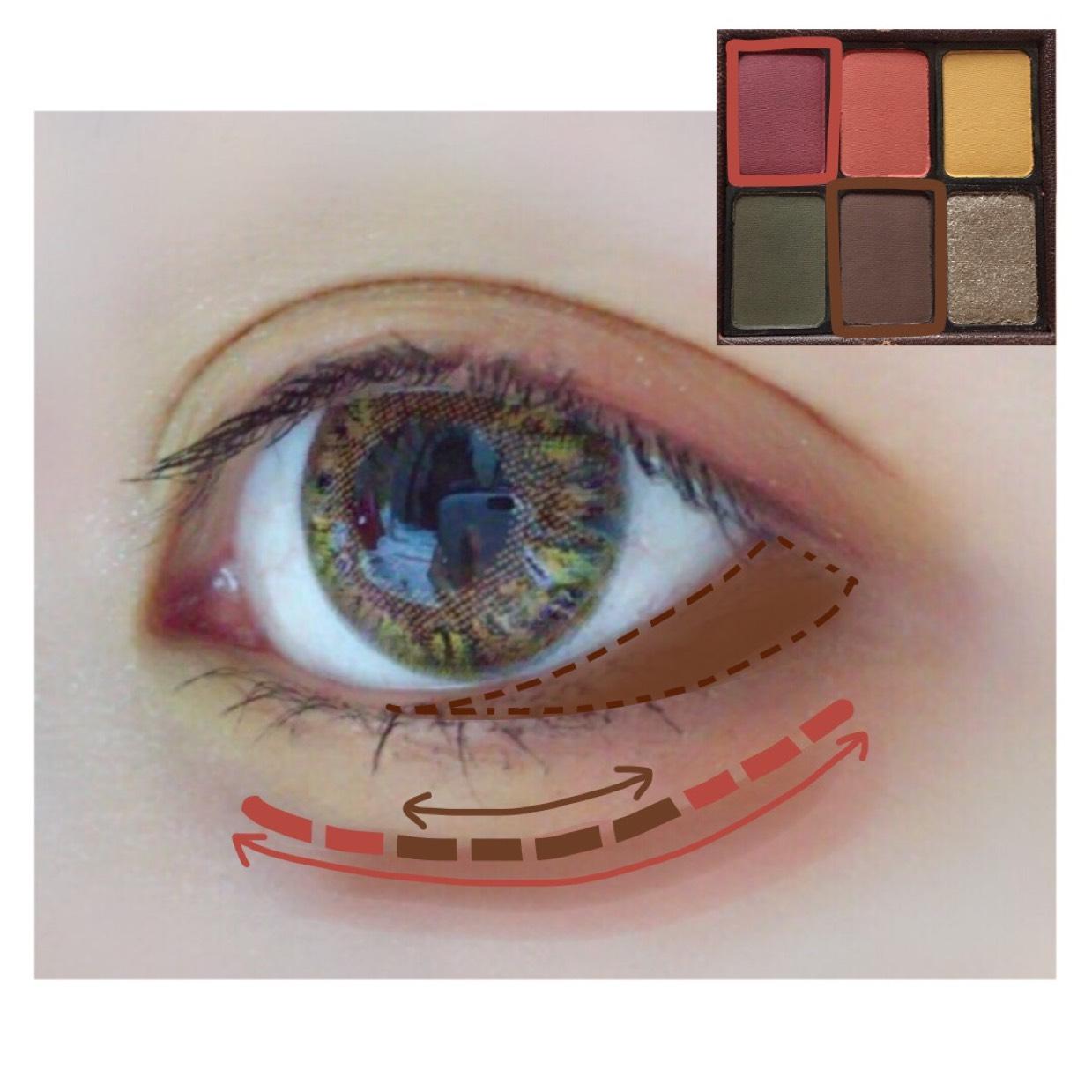 目尻赤緑で入れたのよりも内側の範囲にブラウンを薄く入れます。  涙袋の影もこのパレットで完成させます◎ 赤で塗ってから細くブラウンを真ん中より目尻寄りに描きます。