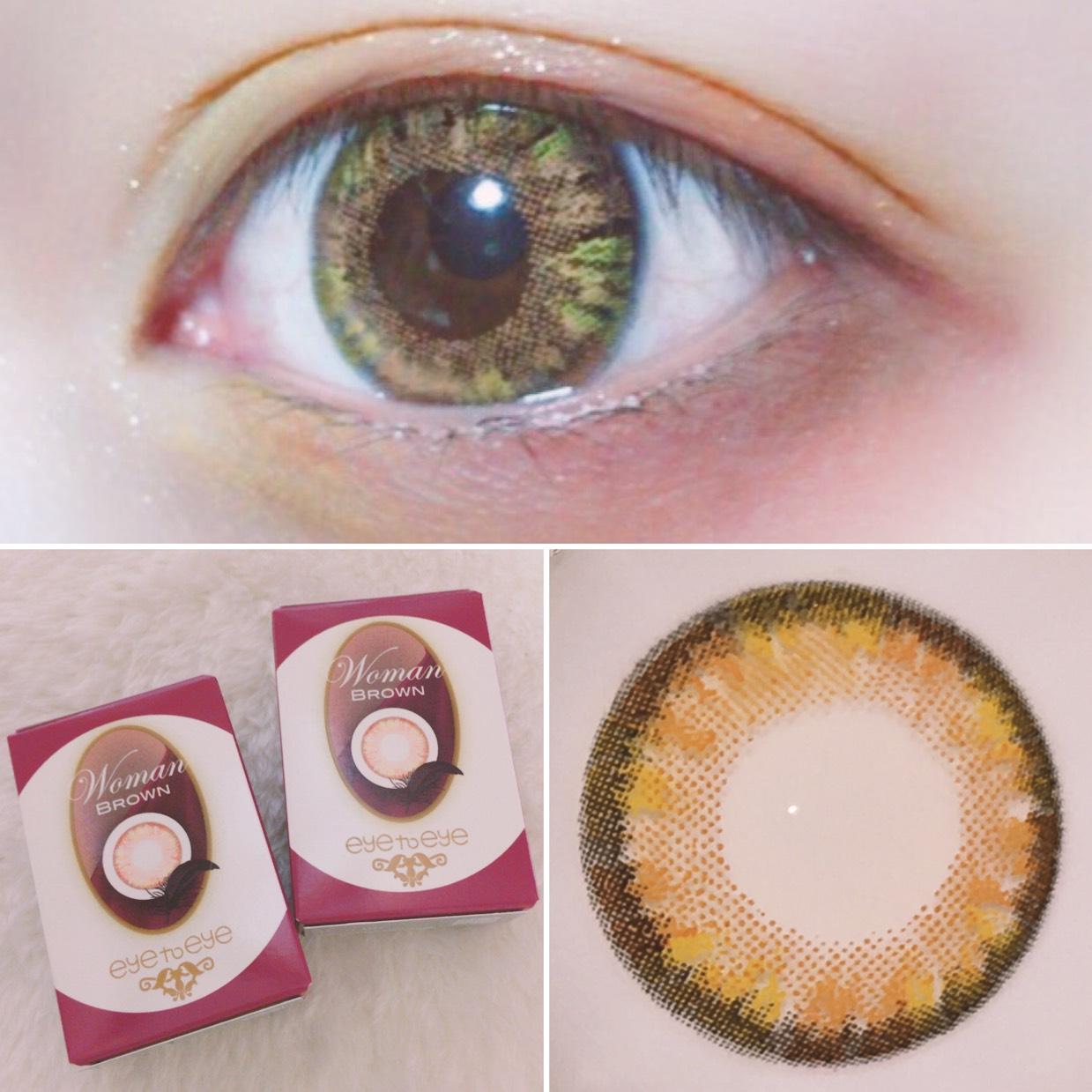 今回使用するカラコンはこちら。 「eye to eye ( BRAUN ) 」 メイクに合わせてオレンジ味のあるブラウンに。私の黒目が暗く落ち着きのある色になりさりげなくグリーン感もあるのでメイクと合ってさらにかわいい◎