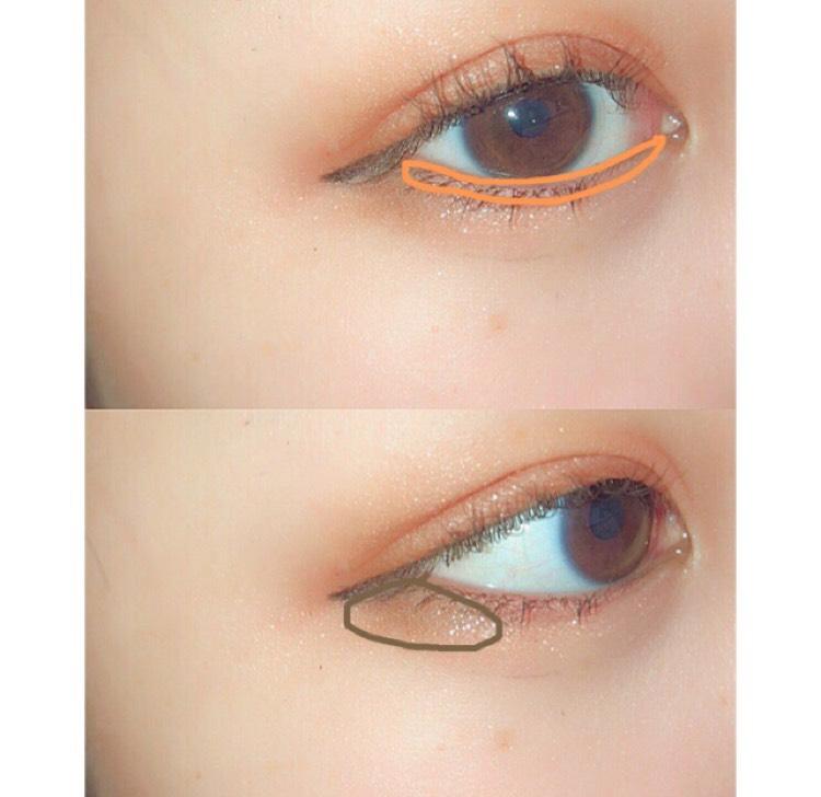 オレンジをチップに取り、下まぶたのキワにラインを引くように置きます  最初に塗ったブラウンをはみ出した目尻からつながるように下まぶたの目尻側に塗っていきます