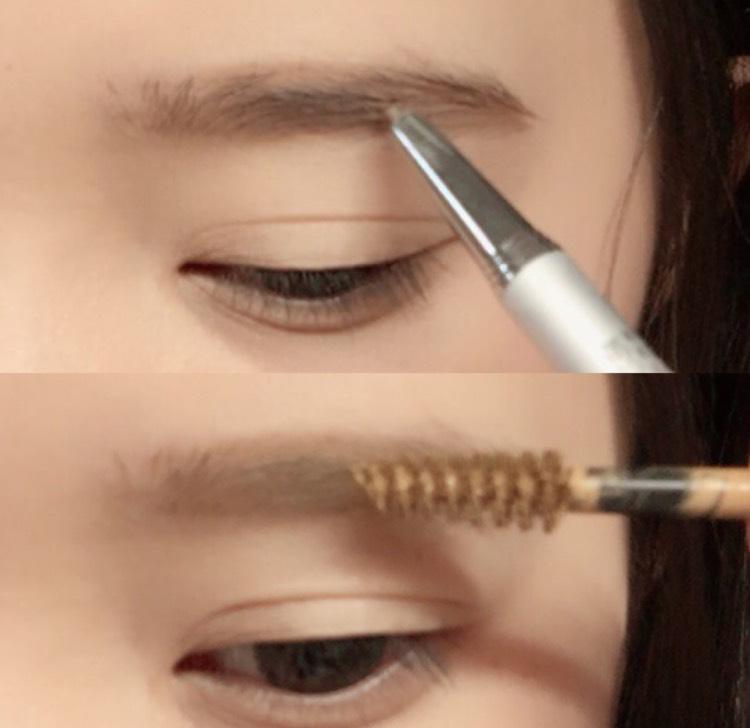 ペンシルで丁寧に眉毛を書きマスカラで色味を変えます