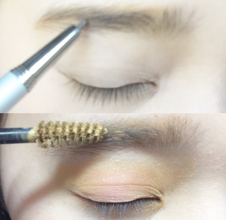 ペンシルで眉毛を書きマスカラで色味を変えます